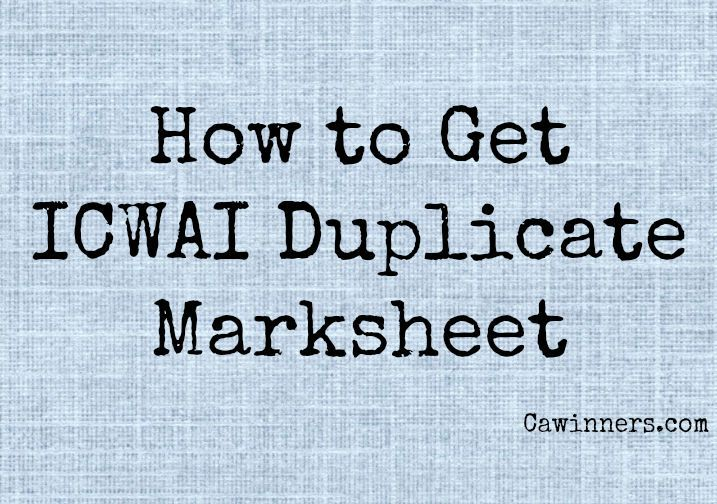 How to Get ICWAI Duplicate Marksheet