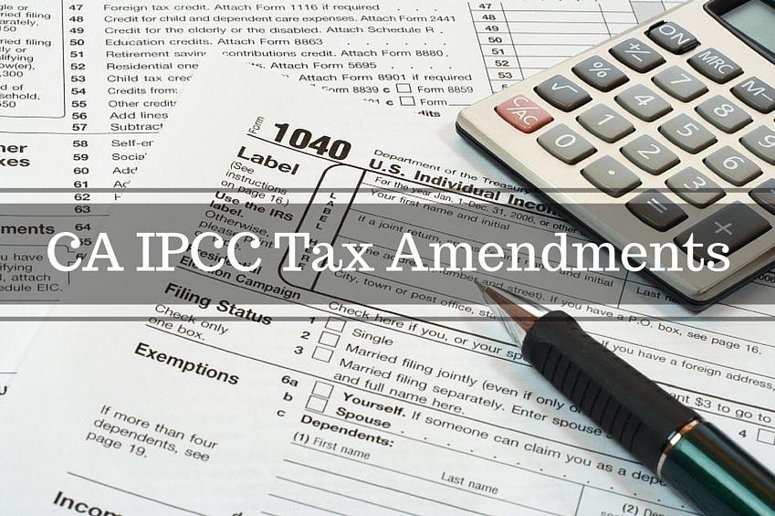 CA IPCC Tax Amendments For May 2016 and Nov 2016