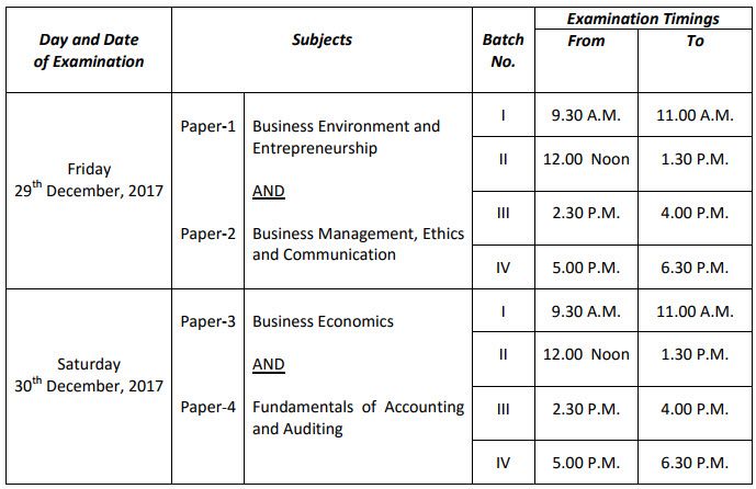 CS Foundation Exam Timetable Dec 2017